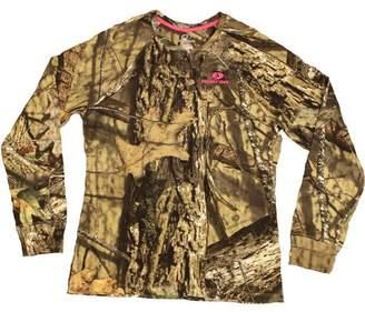 Mossy Oak Women's Long Sleeve Camo Henley Tshirt, MO Country