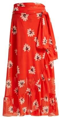 Ganni Tilden Floral Print Wrap Skirt - Womens - Red