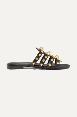 Balenciaga Giant Studded Glossed Textured-leather Slides - Black