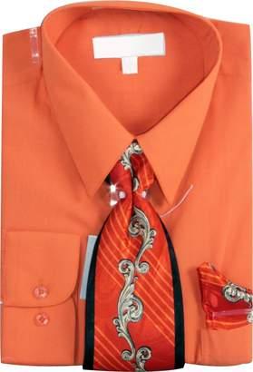 Sunrise Outlet Men's Basic Dress Shirt Print Tie Hanky Set - 15.5 34-35