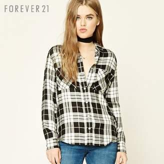 Forever 21 (フォーエバー 21) - Forever 21 チェックボタンフロントシャツ