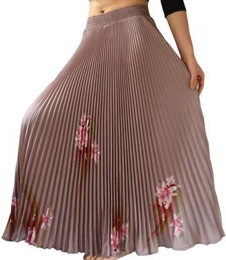"YSJ Womens Pleated Long Maxi Skirt - 35.4"" Chiffon Floral Vintage Bohemian Full Skirts"