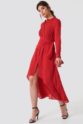 Na Kd Trend Tie Detail Asymmetric Dress Flower Pink Pattern