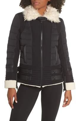 Blanc Noir Moto Aviator Puffer Jacket