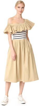 Sea Shoulder Peek Combo Dress $385 thestylecure.com
