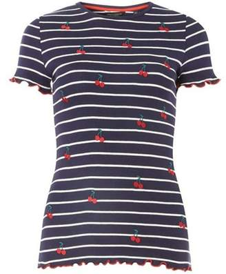 Dorothy Perkins Womens Trees For Cities Navy Striped Cherry T-Shirt
