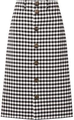 Balenciaga Gingham Woven Midi Skirt - Black
