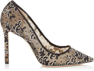 Jimmy Choo ROMY 100 Black and Nude Floral Corded Lace Pointy Toe Pumps