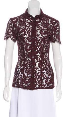 Burberry Short Sleeve Lace Top