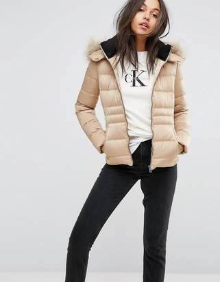 Calvin Klein Jeans Down Filled Padded Jacket With Faux Fur Hood