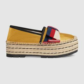 Gucci Leather espadrille with Sylvie bow