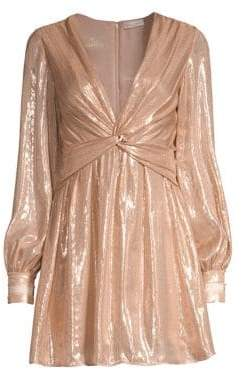 Ramy Brook Elsie Plunging Shimmer Mini Dress