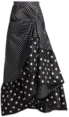 Richard Quinn - Gathered Polka Dot Asymmetric Skirt - Womens - Black White