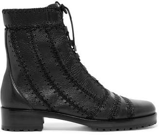 Alexandre Birman Regina Combat Crochet-trimmed Textured-leather Ankle Boots - Black