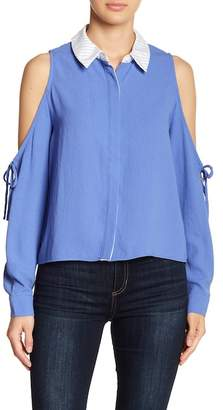 ENGLISH FACTORY Cold Shoulder Collared Shirt