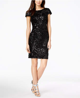 Calvin Klein Sequined Cowl-Back Sheath Dress