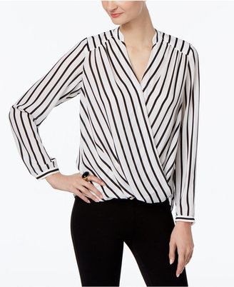 INC International Concepts Striped Wrap Blouse, Only at Macy's $69.50 thestylecure.com