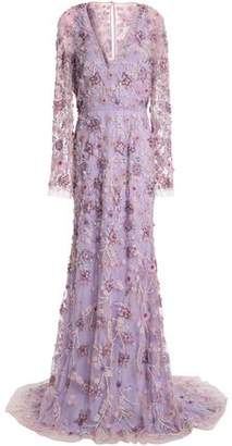 Naeem Khan Embellished Embroidered Silk-Tulle Gown