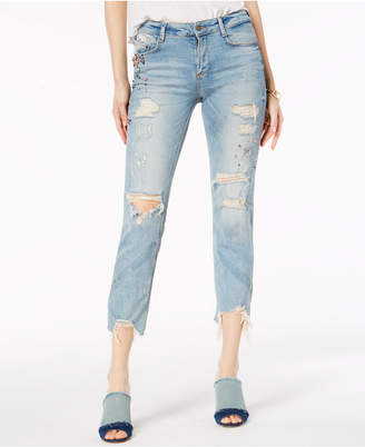 Buffalo David Bitton Embellished Ripped Skinny Ankle Jeans