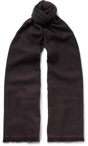 Ermenegildo Zegna Micro-Check Woven Wool Scarf
