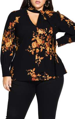 City Chic Golden Floral Blouse