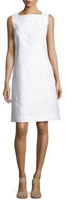 Lafayette 148 New York Jojo Sleeveless Fragmented Jacquard Dress, White $548 thestylecure.com