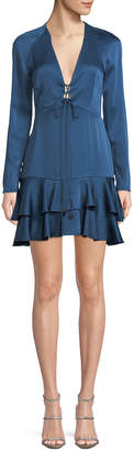 Alexis Hylda Plunging Long-Sleeve Twill Flounce Dress