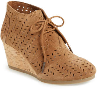Toms Perforated Leather Chukka Wedge Bootie