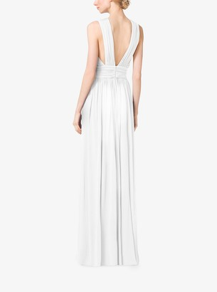 Michael Kors Cross-Front Cutout Tissue Matte-Jersey Gown
