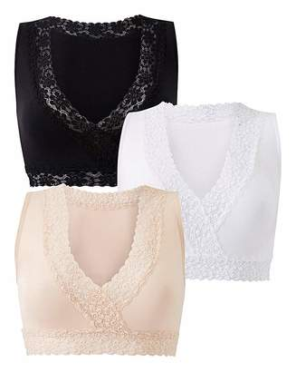 Naturally Close 3 Pack Lace Trim Comfort Tops