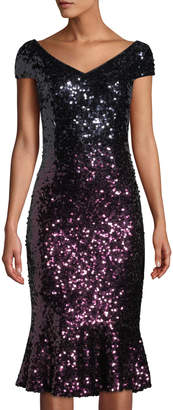 Marina Cap-Sleeve Ombre Sequin Flounce Dress