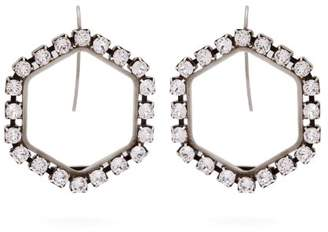 Isabel Marant Hexagon Crystal Embellished Drop Earrings - Womens - Silver