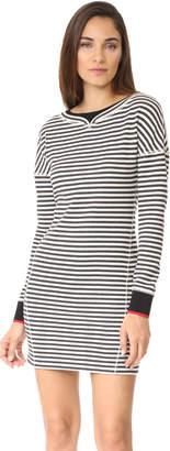 Jason Wu Grey Stripe Boatneck Dress with Ribbed Detail