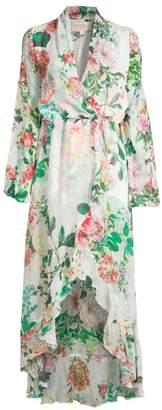 Rococo Sand Long Floral Wrap Dress