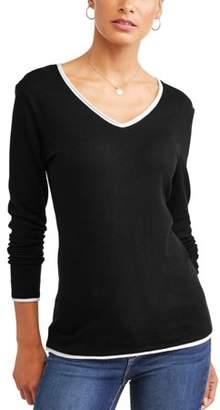 Donna Sorento Women's Contrast V-Neck Sweater