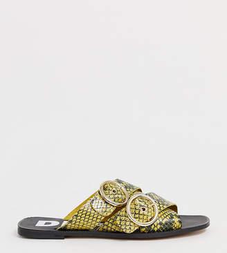 Depp wide fit leather double buckle open toe mule in snake