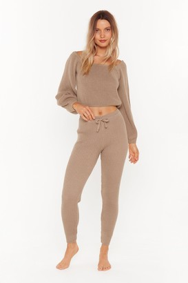 Nasty Gal Womens In A Com-Knitted Relationship Jumper And Joggers Lounge Set - Brown - 6