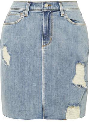 L'Agence The Manuela Distressed Stretch-denim Skirt - Light denim