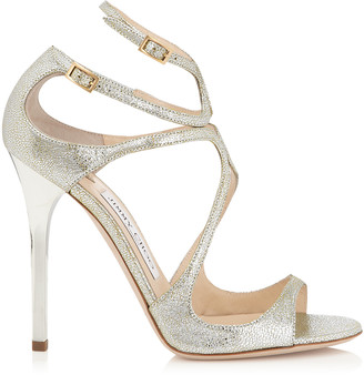 Jimmy Choo LANCE Champagne Glitter Leather Sandals