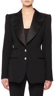 Tom Ford Satin Peak-Lapel Two-Button Wool Tuxedo Jacket w/ Crystal Buttons