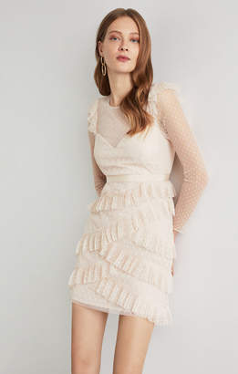 BCBGMAXAZRIA Pleated Tulle Ruffle Dress
