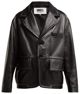 MM6 MAISON MARGIELA Single Breasted Leather Blazer - Womens - Black