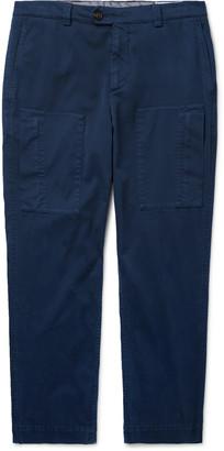 Brunello Cucinelli Slim-Fit Garment-Dyed Stretch-Cotton Cargo Trousers - Men - Blue