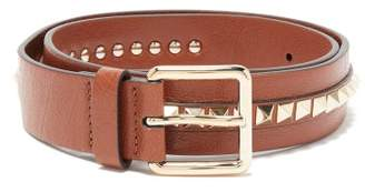 Valentino Rockstud Leather Belt - Womens - Tan
