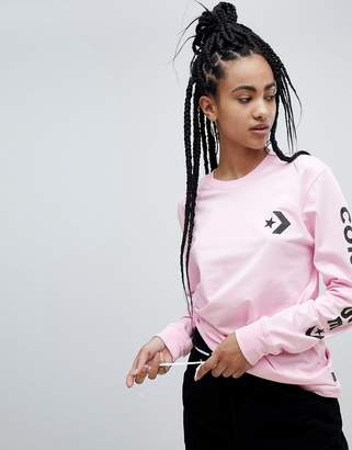 Converse Long Sleeve T-Shirt In Pink