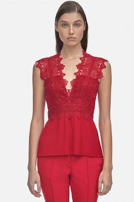 Yigal Azrouel Coral Embroidery Pleated Top