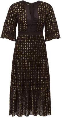 Temperley London Suki Metallic Fil Coupe Midi Dress - Womens - Black Multi