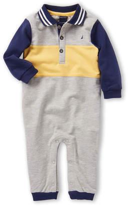 Nautica Newborn/Infant Boys) Long Sleeve Color Block Logo Romper