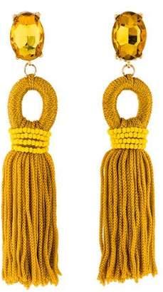 Oscar de la Renta Silk Tassel Clip-On Earrings