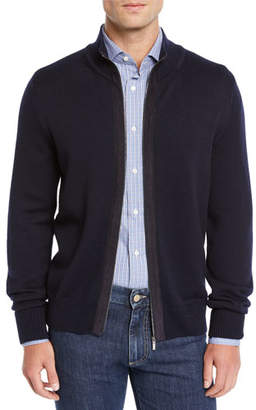 Canali Men's Suede-Trim Wool Zip-Front Jacket